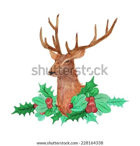 Watercolor Christmas deer portrait. Holiday hand drawn card design. Vintage vector illustration - stock vector