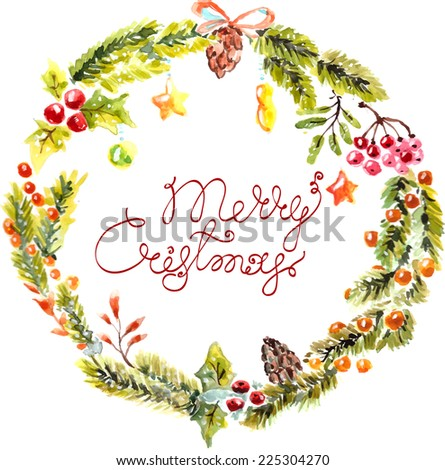 Watercolor Christmas floral frame with text - stock vector