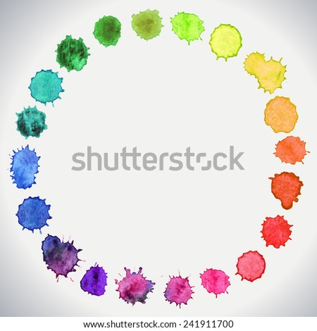Watercolor circle hand paint isolated on a white background. Watercolor vector circles. Colorful template for your design. - stock vector