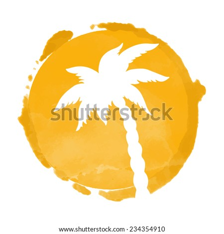 Watercolor circle paint stain and coconut palm tree silhouette. Stamp,  icon isolated on a white background. Abstract art. Logo design