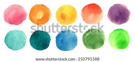 Watercolor circle texture. Vector illustration - stock vector