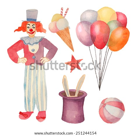 Watercolor Circus set. Hand drawn vintage carnival objects: ice cream, air balloons, clown, rabbit in the hat illusion, ball and star. Vector design elements - stock vector