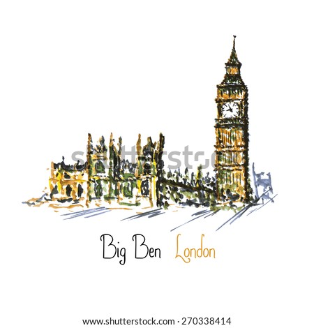 Watercolor Clock tower Big Ben Palace of Westminster, London England UK, vector - stock vector