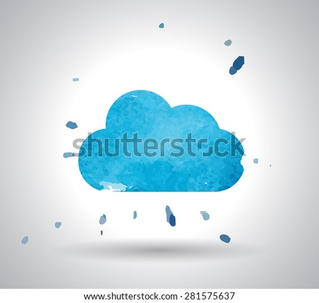 watercolor cloud and cloud storage icon