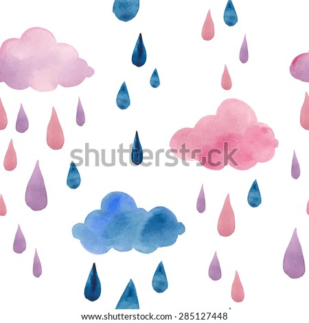 Watercolor clouds and rain drops seamless pattern. Hand drawn pink and blue stars wallpaper modern design. Vector background - stock vector