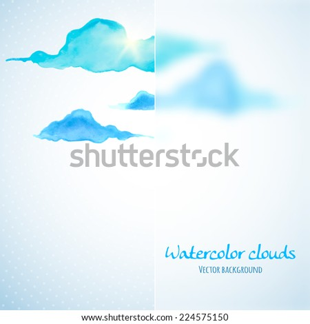 Watercolor clouds background with glass banner. Vector illustration - stock vector