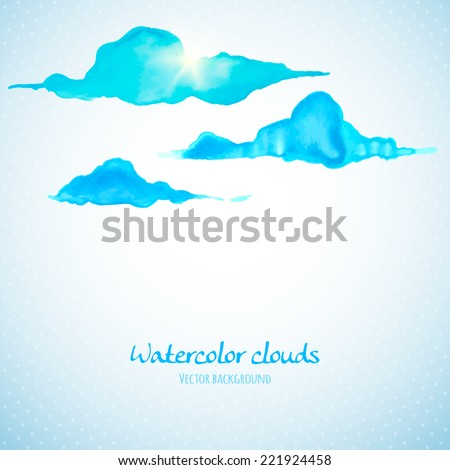 Watercolor clouds background with space for your text. Vector illustration - stock vector