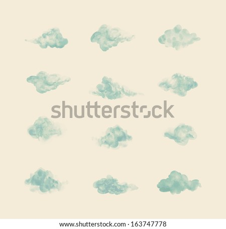 Watercolor clouds. Set - stock vector