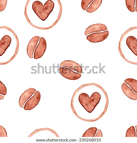 Watercolor coffee bean and heart seamless pattern. Vector, EPS 10 - stock vector