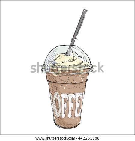 Watercolor coffee cup. Sketch style. Vector.