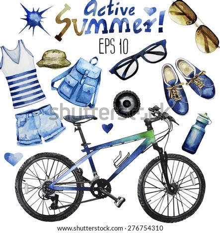 Watercolor collection of attributes for active summer: casual denim clothes, sunglasses, bicycle, gumshoes,backpack, panama. Vector design elements isolated on white background - stock vector