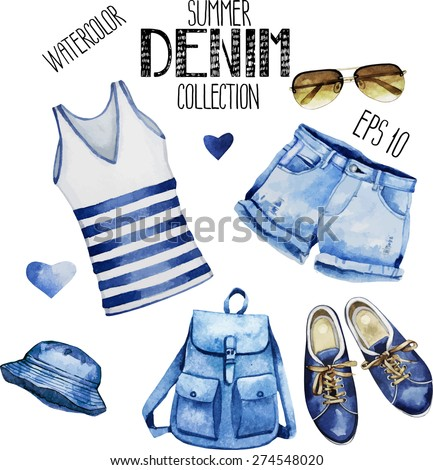 Watercolor collection of  sunglasses and casual denim clothes: gumshoes,T-shirt, shorts, backpack, panama. Vector design elements isolated on white background - stock vector