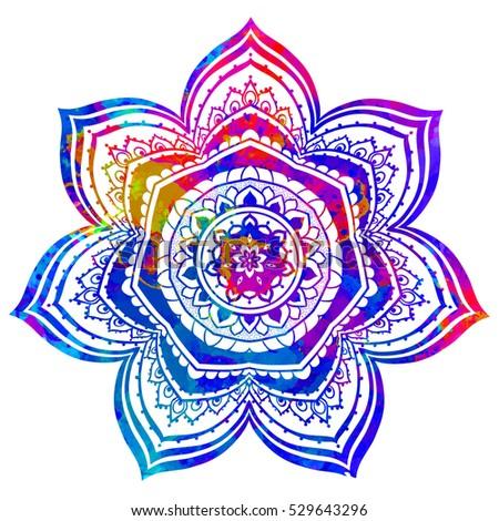 Watercolor Color Card Mandala Geometric Circle Stock Vector