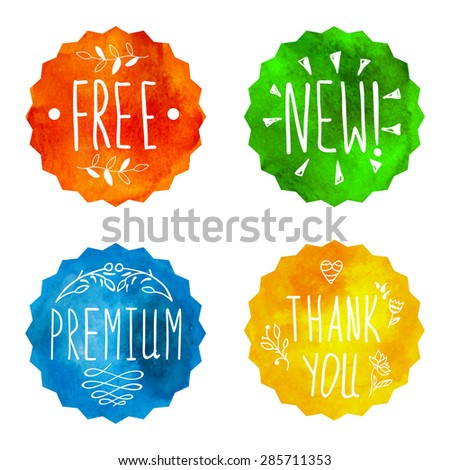 Watercolor colorful banners. Watercolour painting. Highly detailed vector watercolor badges: free, new, premium, thank you