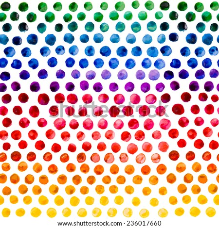 Watercolor colorful bubbles. Circles seamless pattern. Hand painted round shapes abstract background. Vector  illustration.  - stock vector