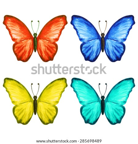Watercolor Colorful Butterflies Set Closeup Isolated Stock Vector ...