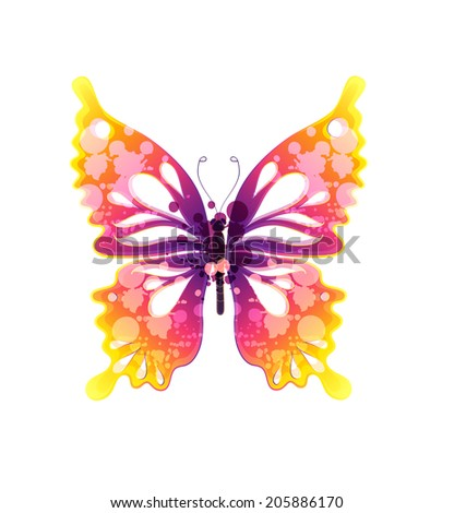 watercolor colorful butterfly on white background - stock vector