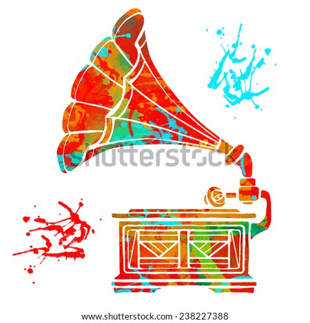 Watercolor colorful gramophone and paint splash isolated on white background  - stock vector