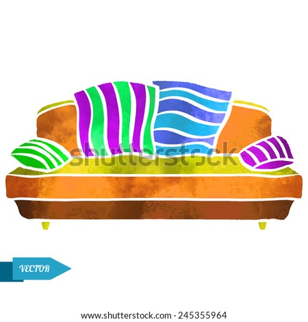 Watercolor colorful modern sofa with pillows closeup isolated on a white background - stock vector