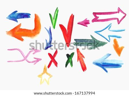 Watercolor  colorful sketch arrow set. Vector illustration - stock vector