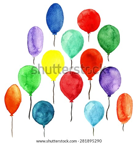 Watercolor colorful sketch holidays balloons set closeup isolated on white background. Hand painting on paper - stock vector