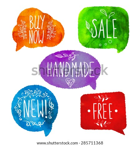 Watercolor colorful speech bubbles. Watercolour painting. Highly detailed vector watercolor banners: free, new, handmade, sale, buy now - stock vector