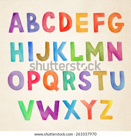 Watercolor colorful vector handwritten alphabet - stock vector