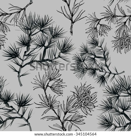 Watercolor coniferous branch with pine cones seamless pattern on gray background, vector illustration - stock vector