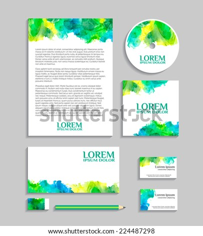 Watercolor corporate identity template with sketch elements. Vector company style for brand book and guideline.