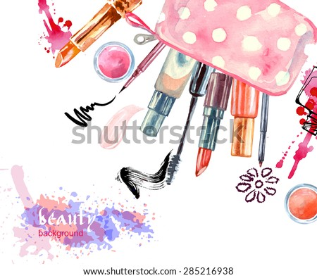 Watercolor  cosmetics background  with  cosmetic bag and  make up artist objects: lipstick, eye shadows, eyeliner, concealer, nail polish. Vector illustration. - stock vector