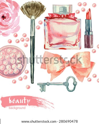 Watercolor cosmetics pattern. Hand painted seamless texture with make up artist objects: lipstick, blush, bow, key, perfumes,  brushes. Vector beauty background. - stock vector