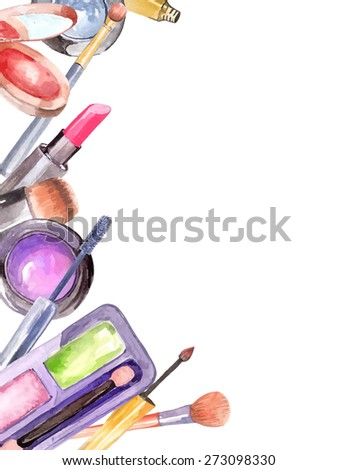 Watercolor cosmetics set, beautiful frame over white, Vector - stock vector