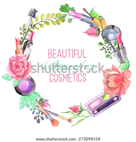 Watercolor cosmetics set, beautiful wreath with flowers over white, Vector - stock vector