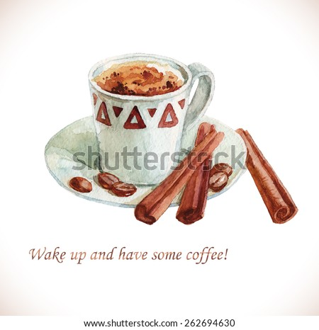 Watercolor cup of coffee with coffee beans over white - stock vector
