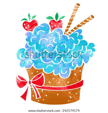 Watercolor cupcake closeup isolated on a white background - stock vector