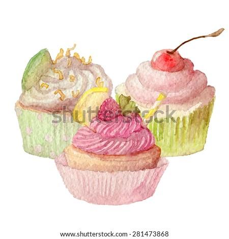 Watercolor cupcakes hand drawn eps10 - stock vector