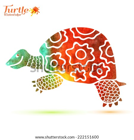Watercolor decorative ornamental turtle with sign, colorful hand drawn artwork for print, wallpaper, web pages, surface design, textile, fashion, cards, vector illustration - stock vector