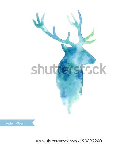 Watercolor deer head - stock vector