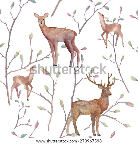 Watercolor deers in forest pattern. Seamless texture with various deer and tree twigs. Hand drawn natural repeating background. Isolated vector illustration - stock vector