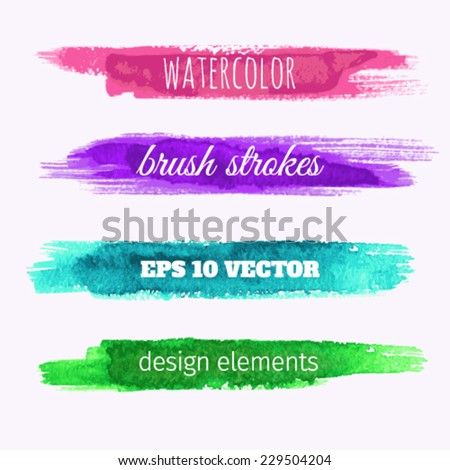 Watercolor design banners. Brush strokes, bright colors. - stock vector