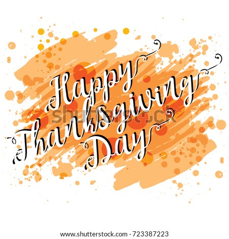 Watercolor Design Happy Thanksgiving Day Lettering Vector Logo Template Greeting Card Banner