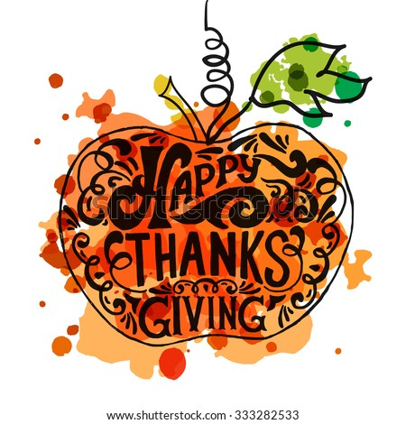 Watercolor design style Happy Thanksgiving Day logotype, badge and ...