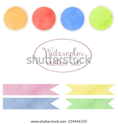 Watercolor design vector art set elements. Palette, ribbons and banners