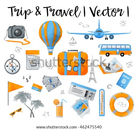 Watercolor design vector illustration, concept of travelling around the world, journey and trip to other countries, for graphic and web design