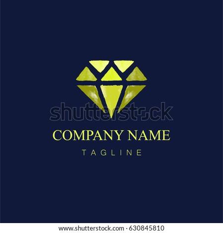 3d diamond shape gold logo vector stock vector 447522685