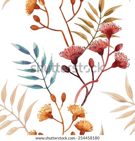Watercolor  drawing. Seamless  floral pattern. - stock vector