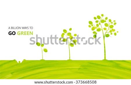 Watercolor Eco design, Tree Growing vector background - stock vector