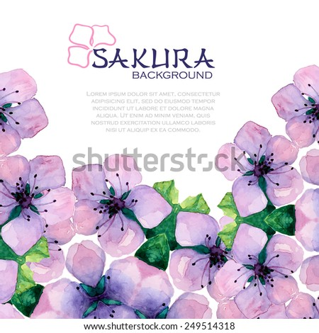 Watercolor elegant background with japanese flowers of sakura. Spring frame with pink flowers - stock vector