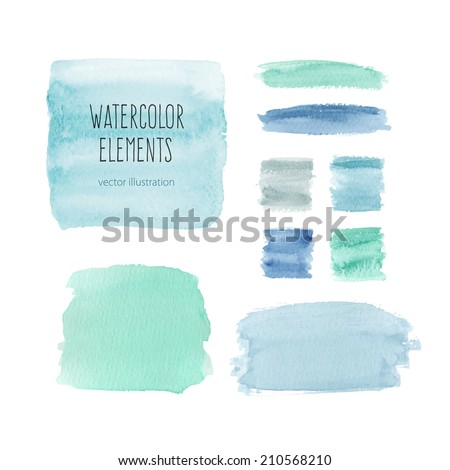 Watercolor elements for design in blue colors. Vector illustration - stock vector