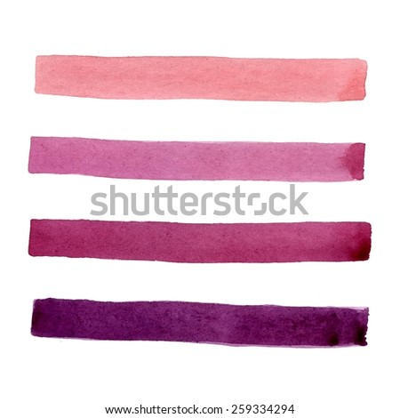 Watercolor elements for design. Set of hand-painted brush strokes - stock vector